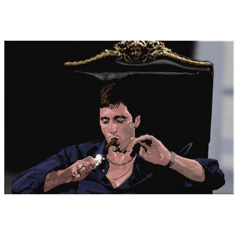 Scarface with Cigar Framed Canvas Wall Art