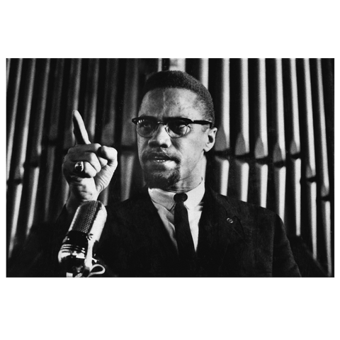 Malcolm X Podiom Photo Print Historical Photo on Canvas Wall Art Black History Decor | Black Lives Matter BLM Black Power Civil Rights