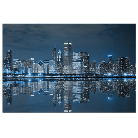 Chicago Skyline at Night on Framed Canvas Photo Print Wall Art | Cityscape USA City Wall Picture Photography