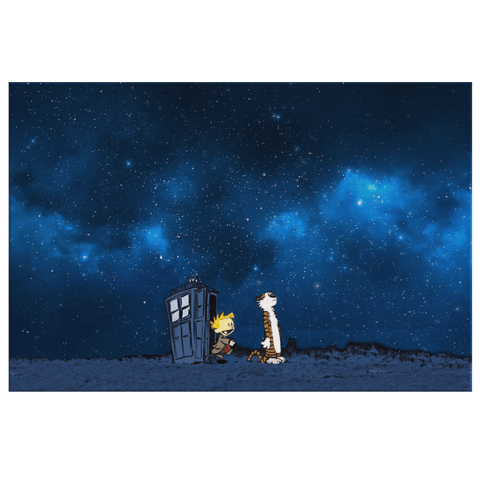 Dr Who Meets Calvin And Hobbes on Framed Canvas Wall Art Print Print | TV Series Mashup Photo Print