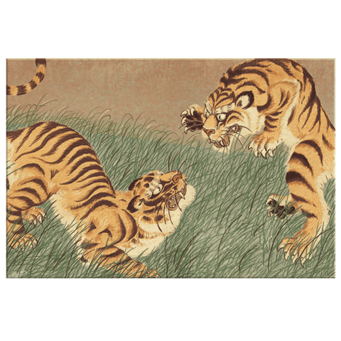 Vintage Chinese Art Fighting Tigers Classic Painting Framed Canvas Wall Art Print Oriental Home Decor