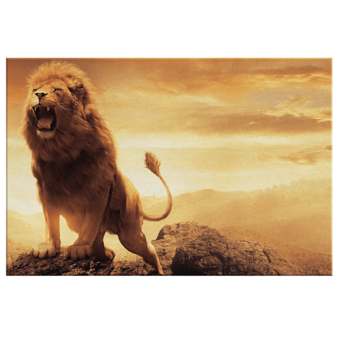 Epic Strong Roaring Lion on Sunset Mountain Framed Canvas Wall Art Print | Motivational Strength Courage Wall Hanging Decor