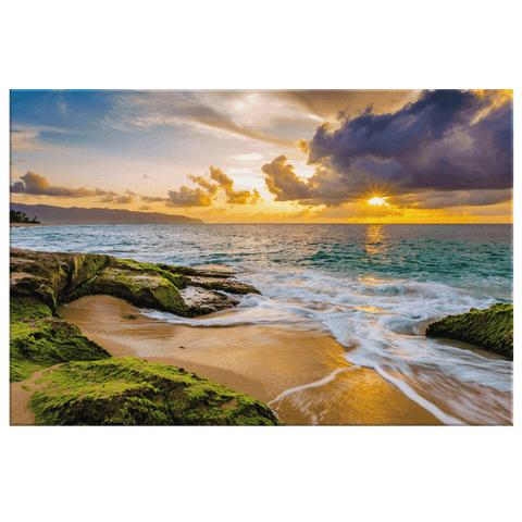 Hawaii Island Beach Sunset Framed Canvas Photo Print