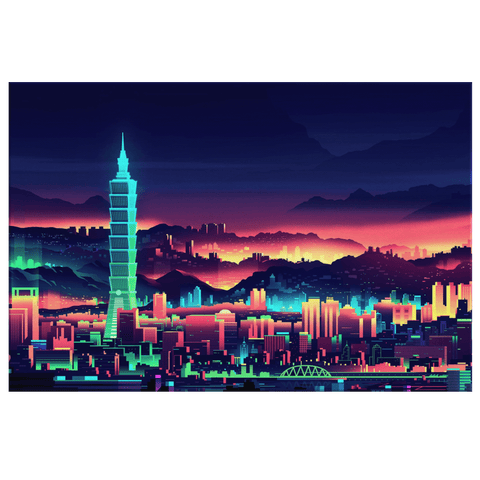 Futuristic Neon Cityscape Digital Simulation City Futuristic Art Print on Framed Canvas Wall Hanging