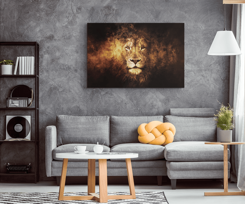 Abstract Fire Lion Face of Flames Framed Canvas Wall Art Print | Creative Lion Wall Hanging | Lion's Mane of Fire