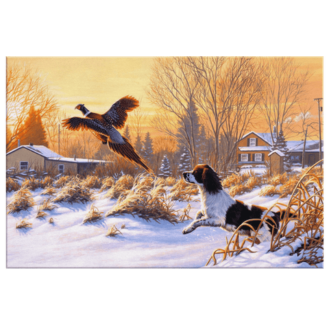 Hunting Dog follow the Peafowl at Snow Framed Canvas Wall Art