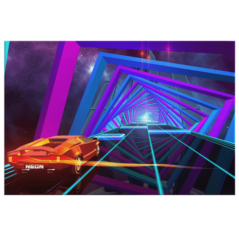 Neon Car Racing in 3D Neon Computer Simulation 80s Style Video Game Futuristic Wall Art Print on Framed Canvas Decor