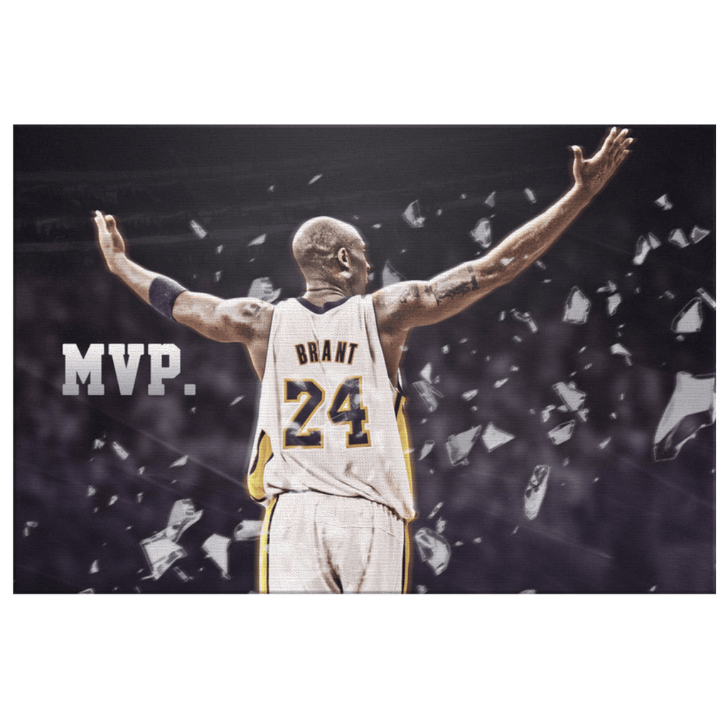 Kobe Bryant Tribute Photo Print on Framed Canvas Wall Art Hanging | NBA L.A. Lakers Decor