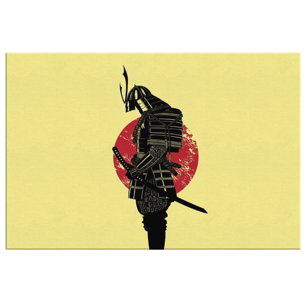 Japanese Samurai Warrior Bushido Framed Canvas Wall Art Print | Minimalist Red Sun Painting