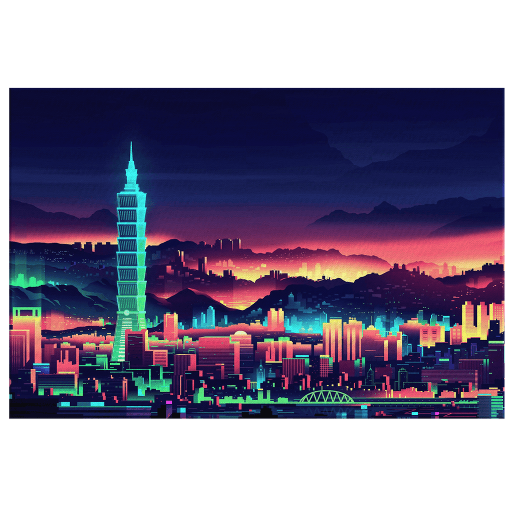 Neon Retro Aesthatic Building Framed Canvas Wall Art