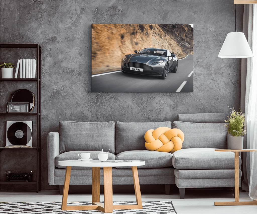 Aston Martin DB11 Black Sports Car Framed Canvas Photo Print