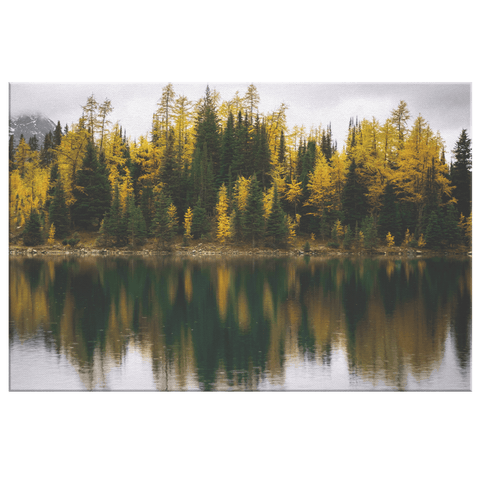 Autumn Trees Forest Reflection on Northern Lake Canvas Photo Print