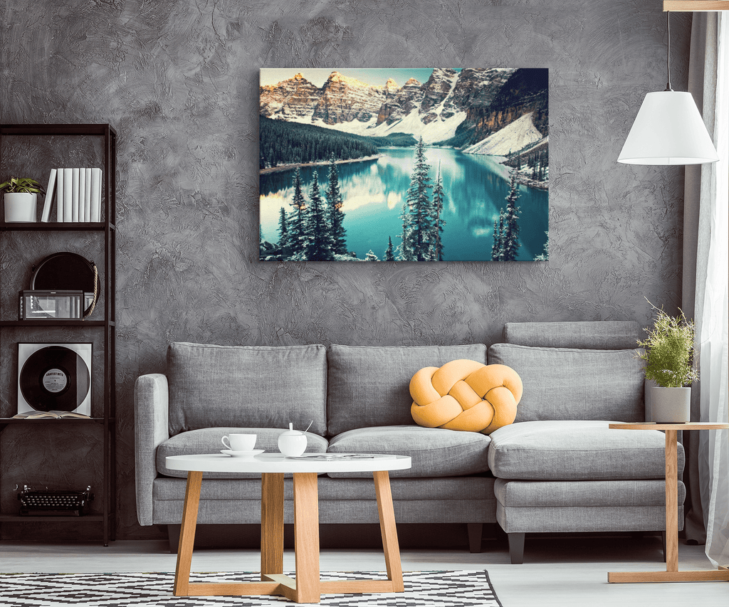 Banff National Park Canada Nature Photo Print on Framed Canvas Wall Art Print | Winter Mountain Lake Snow