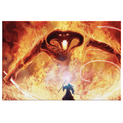 The Balrog of Moria LOTR Art Print on Framed Canvas Wall Hanging | Lord Of The Rings Fan Gift Decor | Kids Gift