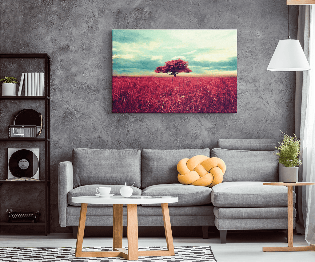 Lone red tree at the Bush Framed Canvas Wall Art