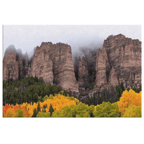 Fog On The Top Of The Mountains Cold Autumn Time Framed Canvas Photo Print