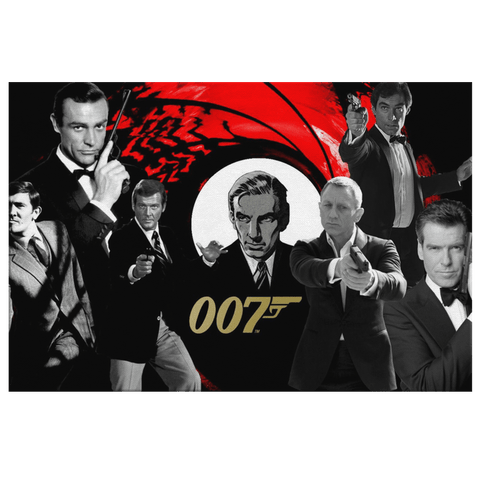 All James Bond Actors on Framed Canvas Wall Photo Print | 007 James Bond 50th Anniversary Commemorative Hollywood Movie Fan Art