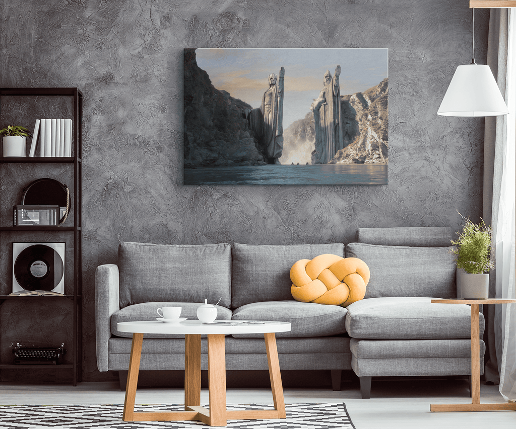 Lord Of The Rings Pillars of Argonath Framed Canvas Wall Art Print | LOTR Fan Art Gift Tolkien