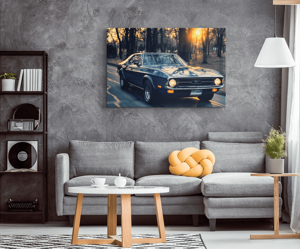 Ford Mustang Cars Traffic Canvas Photo Print