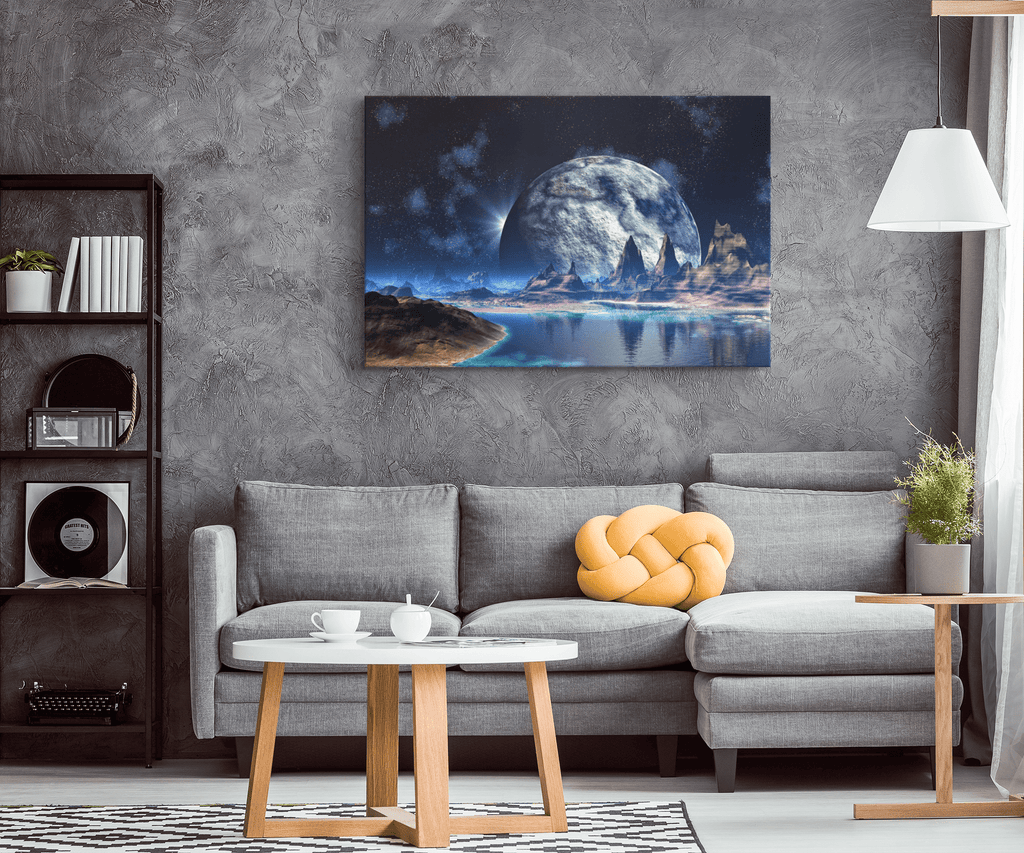 Sci Fi Alien Planet World With Mountains in Space Moon on Framed Canvas Art Print | 3D Cosmic