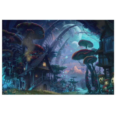Fantasy World Trippy Mushroom Land Art Print on Framed Canvas Wall Art | Imaginative Psychedelic Mushroom Picture