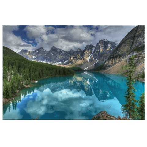 Beautiful Mountain Valley and Blue Lake Water Reflection Framed Canvas Photo Print