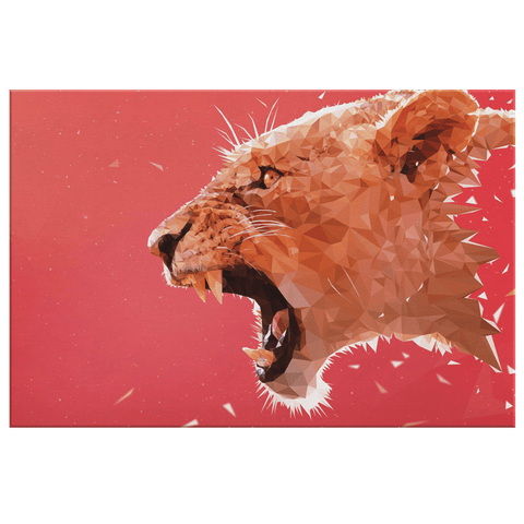 Digital Vectored Lioness Art Print on Framed Canvas Wall Hanging | Contemporary Lion Decor | Powerful Female Motivational Wall Art