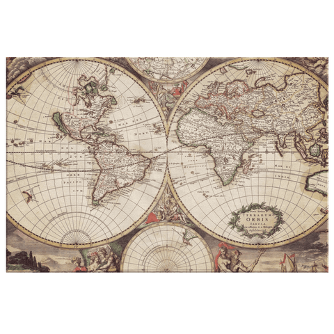 Terrarum Orbis Tabula Old Earth Map Framed Canvas Wall Art