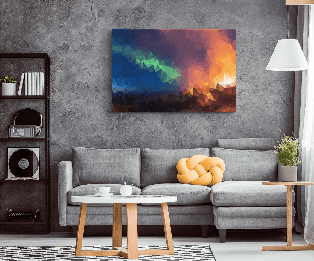 Abstract Northern Lights Aurora Borealis Wall Art Print on Framed Canvas Wall Hanging | Modern Contemporary Living Room Decor
