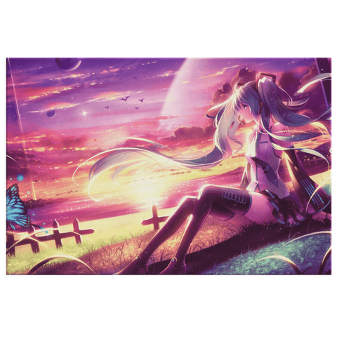 Hatsune Miku Anime Girl Fan Gift Wall Art Print on Framed Canvas Bedroom Decor Teen Girl