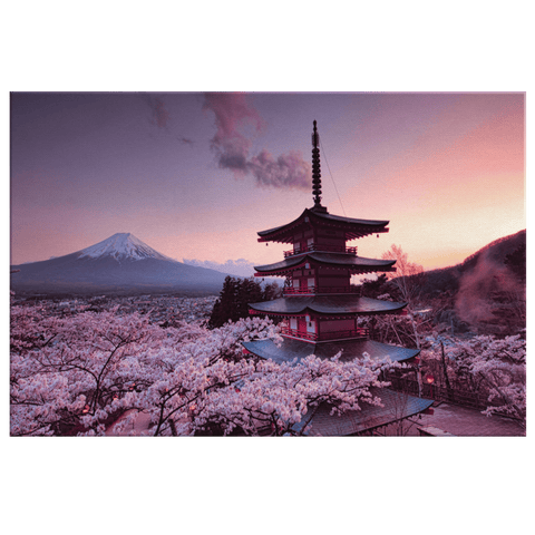 Japanese Temple Cherry Blossoms Mount Fuji Wall Art Print on Canvas