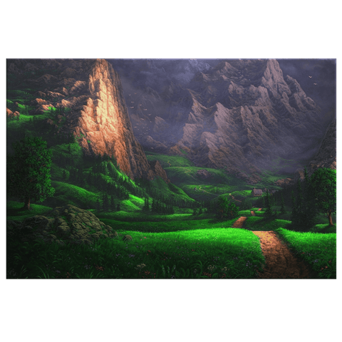 Mythical Green Fantasy Landscape Mountains & Lush Meadow Painting | Framed Canvas Art Print Decor