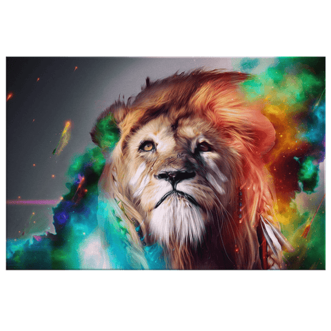 Digitally Painted Colourful Lion Framed Canvas Wall Art