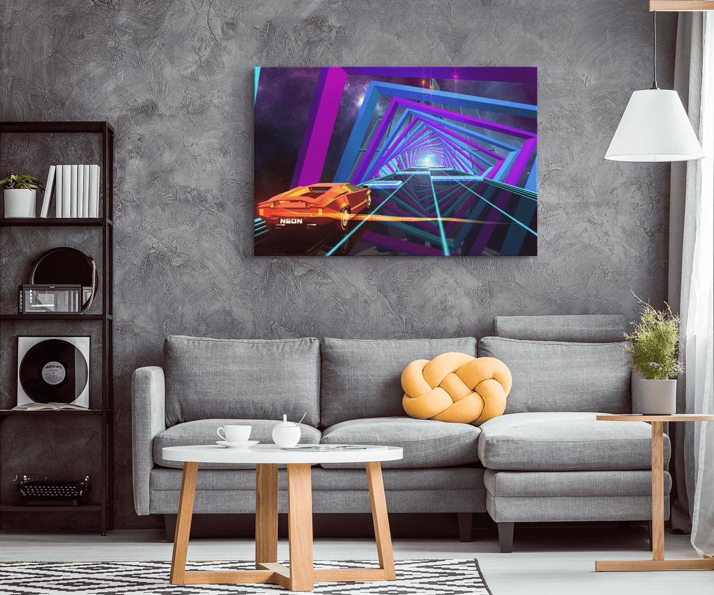 Graphic Portal Design Car Game Framed Canvas Wall Art