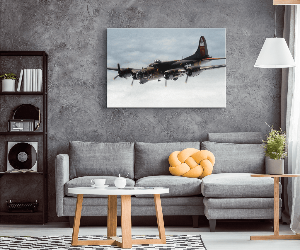 B17 Flying Fortress in Clouds Photo Print on Framed Canvas Wall Hanging | WW2 Aviation History USAF Vintage Warplane Decor