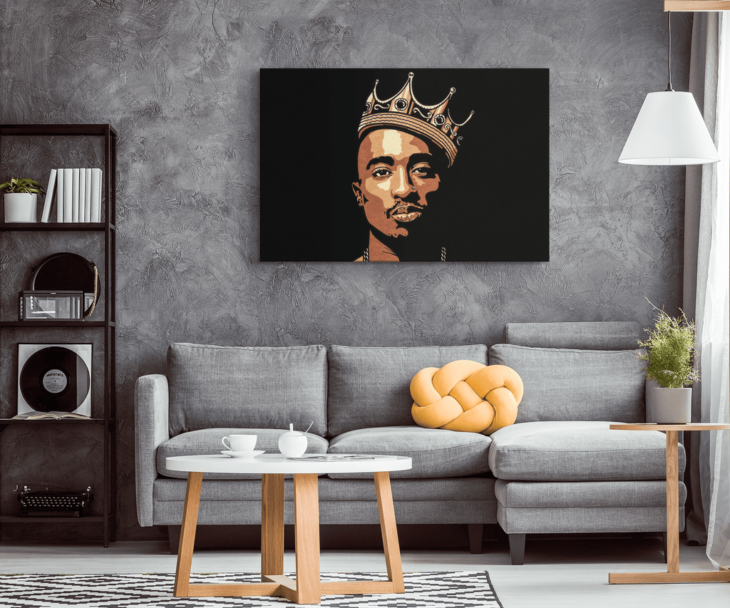 "Tupac ""2pac"" Shakur With Crown on Framed Canvas Wall Art Print 