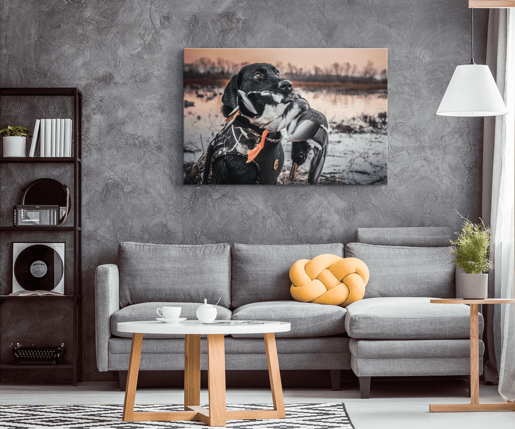 Duck Hunting Dog Black Lab Photo Print on Framed Canvas Wall Art Hanging | Hunting Gift for Dad Fathers Day Decor