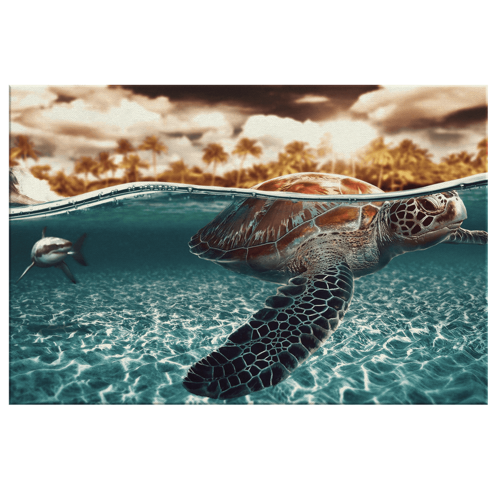 Sea Turtle and Shark in Clear Water Framed Canvas Photo Print | Tropical Sea Nature Cute Turtle Wall Art Decor