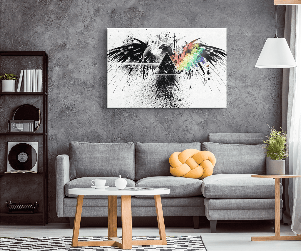 Mystical Trippy Black Ink Splash Raven with Prism  on Framed Canvas Wall Art Print Bedroom Decor