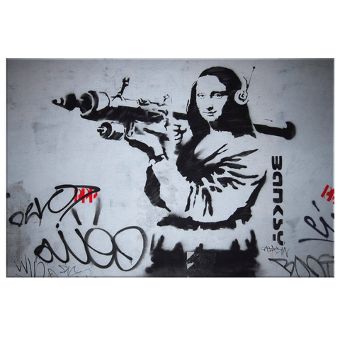 Banksy Mona Lisa Street Art Print on Framed Canvas Wall Hanging | Graffiti art