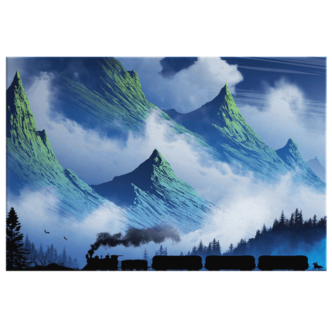 Mystic Green Shrouded Mountains & Train Western Art Print on Framed Canvas Wall Hanging | Fantasy Landscape Painting