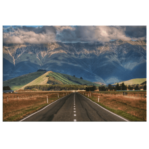 Narrow Road Along New Zealand Framed Canvas Photo Print