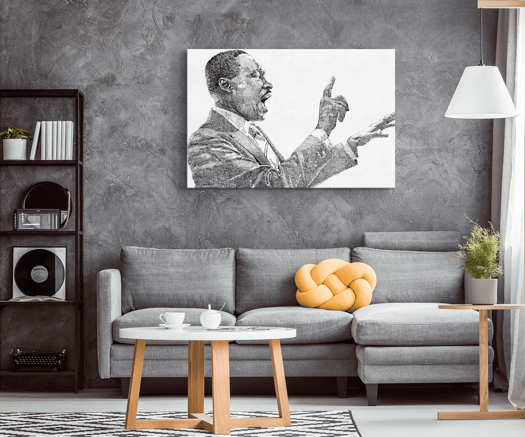 Martin Luther King MLK Ink Stencil Sketch Art Print Wall Art Decor on Framed Canvas | BLM Black Lives Matter Civil Rights Movement Black History