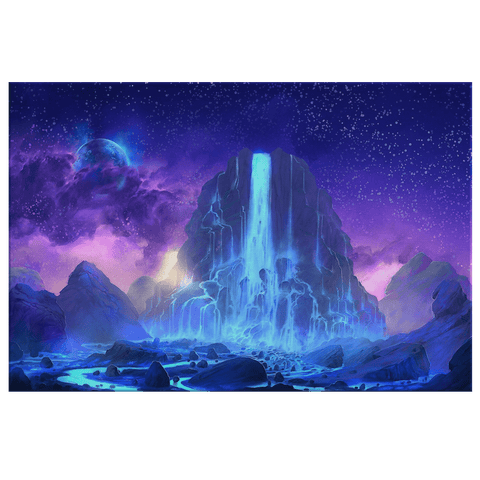 Night Mountain Glowing Waterfall Space Galaxy Fantasy World Framed Canvas Wall Art Print | Mystic Mountain