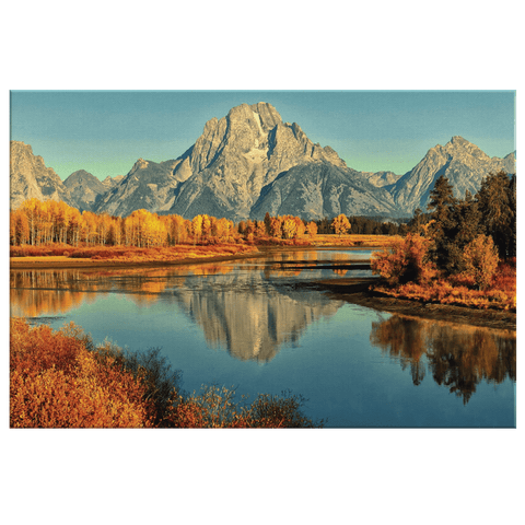 Nature Landscape Mountain and Clear Lake Autumn Season Framed Canvas Photo Print