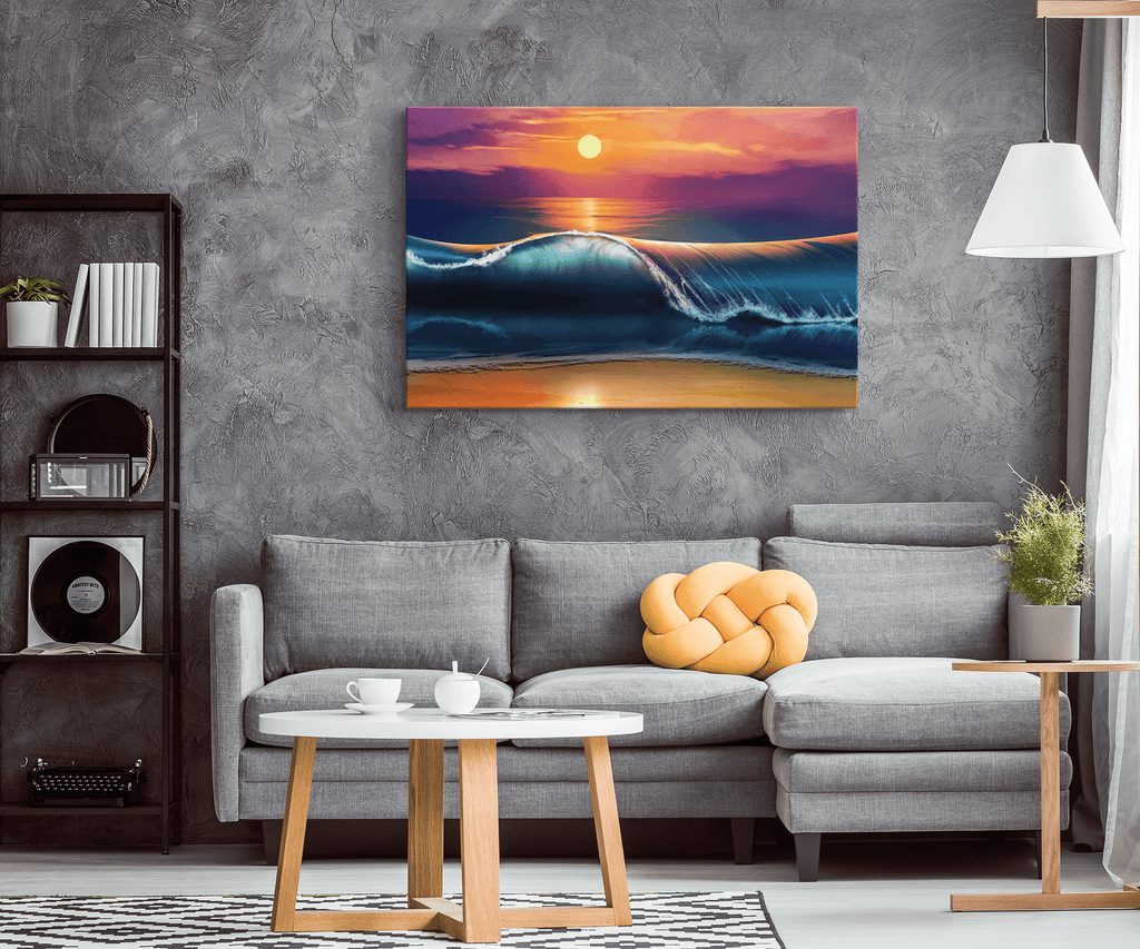 Sunset Beach Ocean Wave Painting on Framed Canvas Print | Hawaii Surfer Gift Wall Art Print