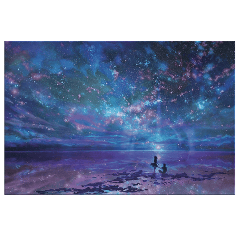 Beautiful Galaxy Stars & Seashore Romantic Couples Fantasy Framed Canvas Wall Art Print | Pretty Colorful Wall Hanging