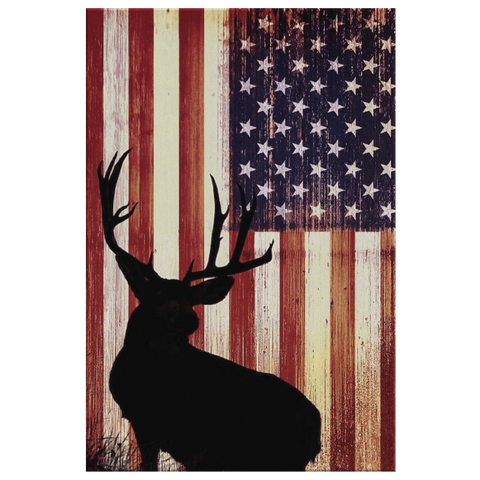 American Flag Buck Deer Hunting Decor on Framed Canvas Art Print | Hunting Gift For Men Garage Decor