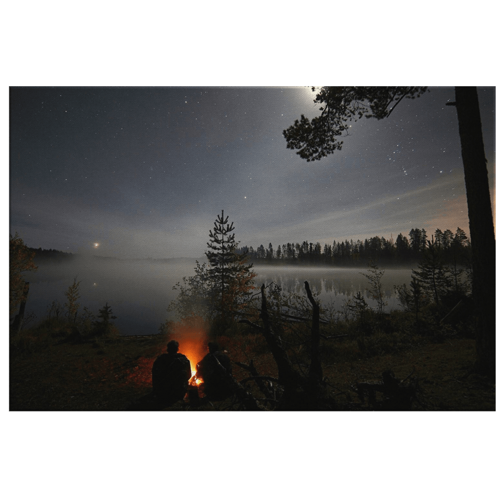 Night Camping Scene under Stars Misty Lake Camp Fire Photo print on Framed Canvas Art Print Bushcraft Gift
