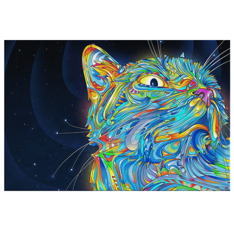 Trippy Psychedelic Acid Kitty Cat Colorful Art Print on Framed Canvas Wall Art | Mystical Space Cat